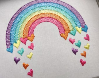 Mini Light stitching light stitch rainbow in many sizes, rainbow embroidery design, outline rainbow light stitch, machine embroidery designs