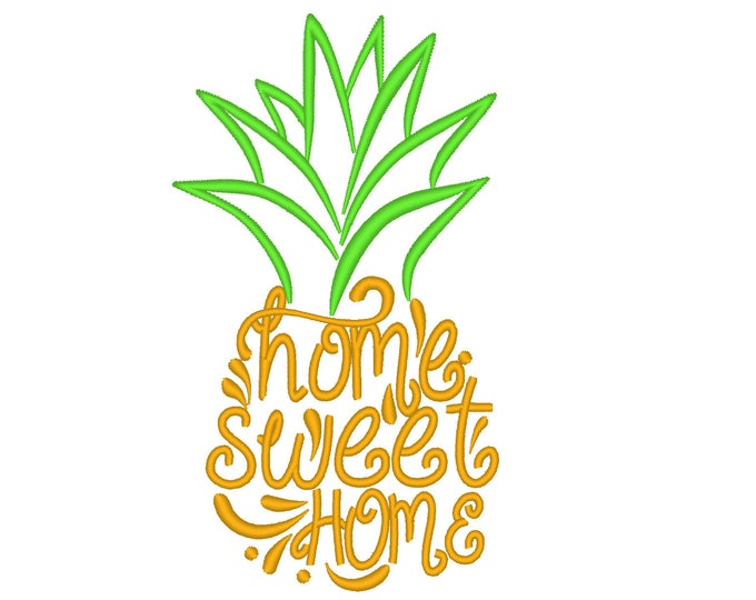 Decorative Pineapple welcome flag decoration Home Sweet Home - machine embroidery silhouette embroidery