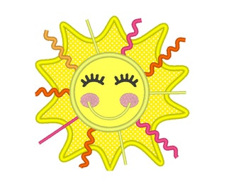 Ric Rac Ribbon & Trim Sunshine Sun applique, Summer machine embroidery applique design Smiling Sun, Beach, Summer, Spring  4x4, 5x7, 6x10