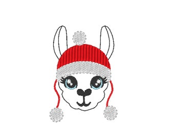 MINI Llama face Llama with Christmas winter hat llama Merry Christmas machine embroidery designs