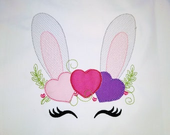 Sketch light stitch Bunny face with heart, hearts crown light triple bean stitch machine embroidery designs Valentine bunny face
