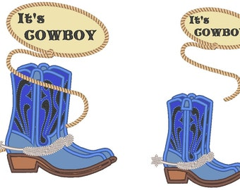 Cowboy, cowboy boots - machine embroidery applique designs set - 4, 5 and 6 inches