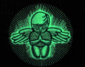 Praying angel / Glow in the dark special designed machine embroidery / sizes 4x4 and 5x7 / file  INSTANT DOWNLOAD