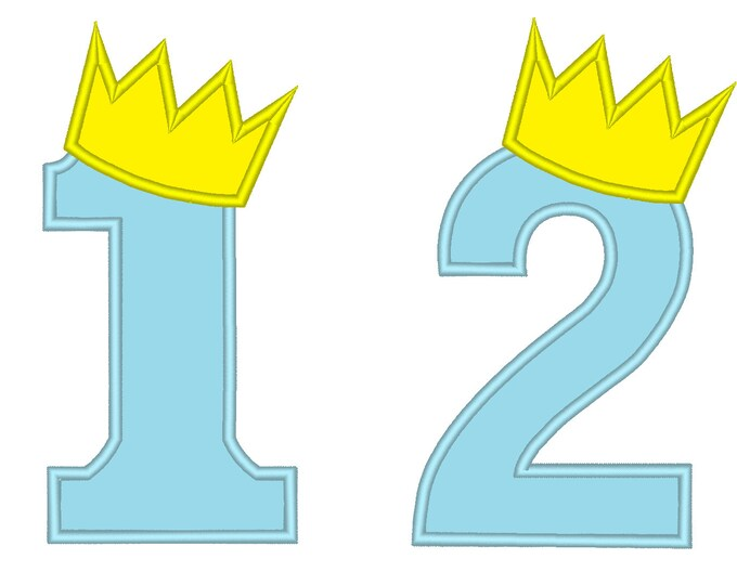 King Birthday Crown Numbers embroidery applique designs for Boy birthday shirts - 4, 5 and 6 inches
