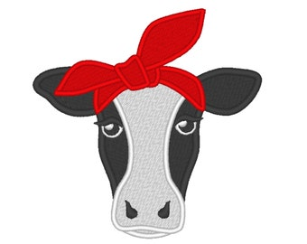 Cow face, cow head, cow with bandanna, Farm , cow fill stitch design, little cow handkerchief cute farm theme machine embroidery designs