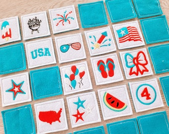 Memory game Patriotic 4th of July machine embroidery design match game in the hoop embroidery ITH design project download for 4x4, 5x7 6x10