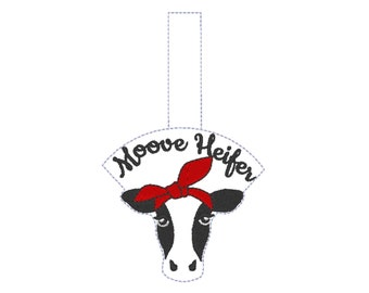 Moove heifer key fob, cow in bandanna, ith key fob, mini embroidery design, key fobs feltie, in the hoop embroidery project