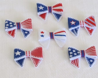 Patriotic Bows 3D effect  - 4th July - In the hoop project - machine embroidery ITH design - only for hoop 5x7