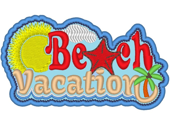 Cool Shades Beach Vacation Title patch design - for hoop 4x4, 5x7  INSTANT DOWNLOAD