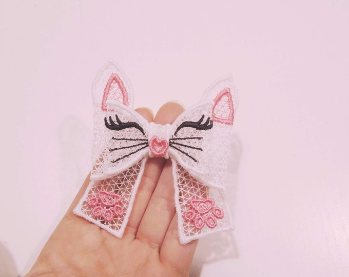 Kitty face Double layer Big bow Little Princess - FSL, Free standing lace, curl Bow - machine embroidery design 5x7