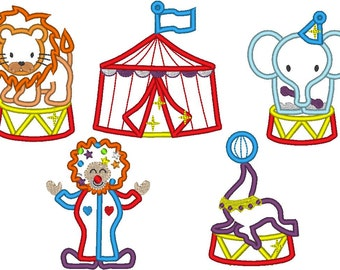 Circus set - 5 single designs- machine embroidery applique design - 4x4 and 5x7 INSTANT DOWNLOAD