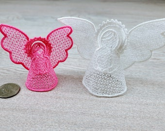 Precious Angel Easy 3D three-dimensional, 3 dimensional FSL Free standing lace machine embroidery design in the hoop ITH embroidery 4x4 5x7