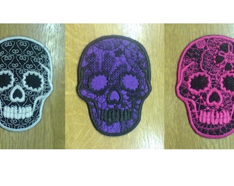 Day Of The Dead Embroidered Lace Skull Calavera Sugar INSTANT DOWNLOAD