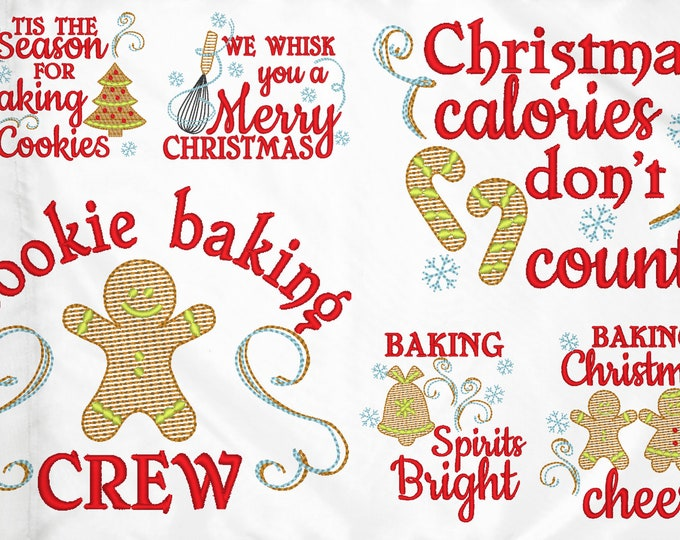 Merry Christmas kitchen baking kids cookies SET of 6 designs - Kitchen cute quotes -dish towel apron machine embroidery designs  4x4, 5x7