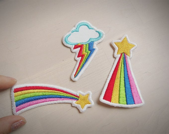 Rainbow and falling rainbow star patches - machine embroidery kiss patch applique designs assorted sizes mini designs  INSTANT DOWNLOAD