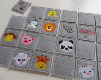 "Memory game ""Animals"" machine embroidery design download for 4x4, 5x7 and 6x10 INSTANT DOWNLOAD children game wild animals leon giraffe"