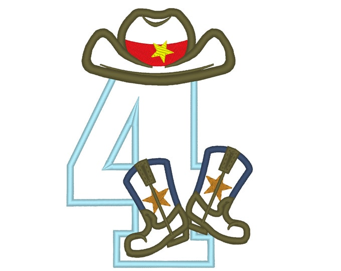 Cowboy Birthday number FOUR 4 kicking boots number 4 machine embroidery applique designs for hoop 5x7, sizes 5 and 6 inches INSTANT DOWNLOAD