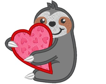 Sloth love with heart, I love you slow much! Sloth  with heart applique design, Sloth Embroidery Applique Design 4x4 5x7 6x10