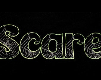 Boo Halloween Font light sketch outline machine embroidery font alphabet letters  1.5, 2, 3  & 4 in BX, vp3, xxx, pes and other embroidery
