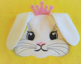 HOODED TOWELS Princess bunny, hooded towel topper machine embroidery design head ears crown ITH in the hoop dimensional embroidery applique