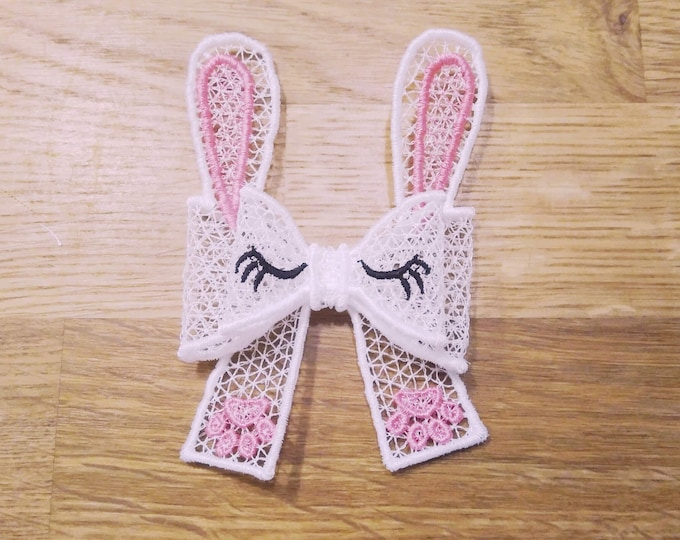 Easter Bunny ears Double layer Big bow Little Princess - FSL, Free standing lace, curl Bow - machine embroidery design 5x7
