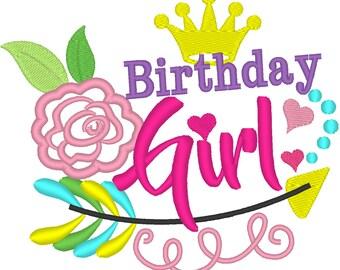 Birthday Girl Applique embroidery Design, birthday embroidery design, birthday applique design - 4x4, 5x7, 6x10