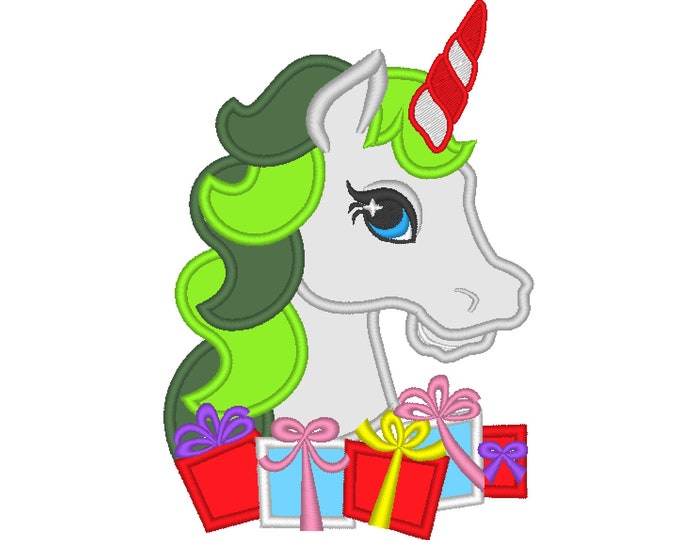 Christmas Unicorn head with presents applique machine embroidery designs unicorn face Merry Christmas