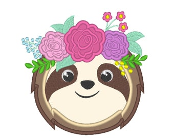 Sloth face, pretty eyes sloth, sloth with roses floral crown applique design,  machine embroidery applique design 4x4 5x7 6x10