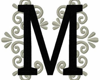 Regal royal classic Letter M garden flag monogram lace swirl  block font machine embroidery design monogram 4, 5, 6 and 8 in