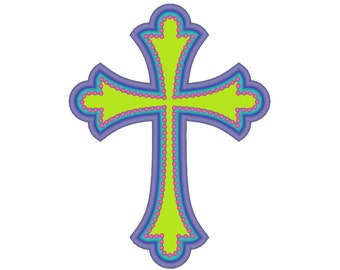 Cross applique awesome multicolor machine embroidery design, cross obelus pearl stitch applique design, sizes 4x4 5x7 and 6x10
