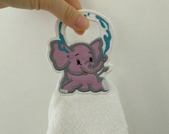 Little elephant Towel hanging hole and add on - machine embroidery project designs 4x4 and 5x7 - In the hoop embroidery