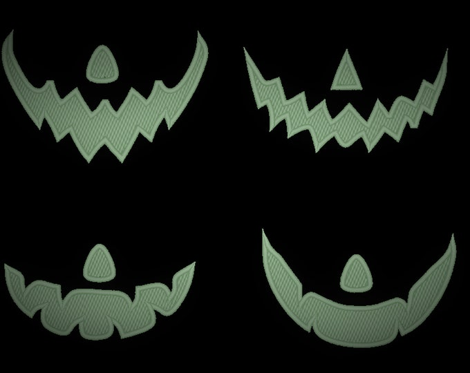 Facemask Jack o lantern pumpkin Halloween costume facemask mouth face head Glow in the dark embroidery designs set of 4 designs sizes