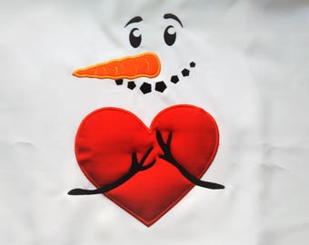 Awesome snowman Hugs warm heart embroidery applique designs - 4x4, 5x7 6x10 INSTANT DOWNLOAD