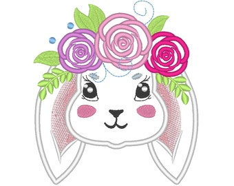 Valentine lovely Bunny head with shabby roses crown applique machine embroidery designs applique Rainbow unicorn embroidery bunny face