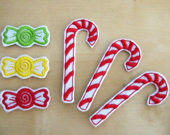 Christmas Candies, ITH in the hoop - machine embroidery designs - 2 types
