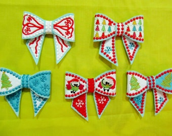 Christmas Bows 3D effect  - In the hoop project - machine embroidery ITH design - 4x4 INSTANT DOWNLOAD