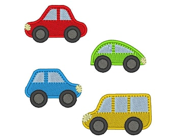 Cars mini and easy to make - fill stitch embroidery and applique designs many sizes -  INSTANT DOWNLOAD