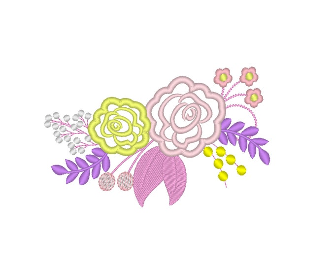 Cowgirl  shabby Chic 2 roses flowers Bouquet crown - machine embroidery designs for embroidery hoops 4x4 and 5x7