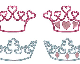 Whimsy crowns, tiaras for little girls and little boys, machine embroidery appliqué designs - 2 types, multiple sizes INSTANT DOWNLOAD