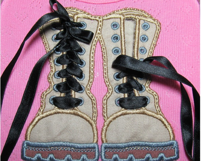 Combat Boots - In The Hoop Machine Embroidery designs, Completed 100% in the hoop in one step, sizes 5, 6, 7 and 8 inches
