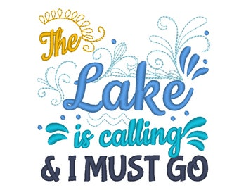 The Lake is calling and I must go design 4x4 5x7 6x10  mermaid thing, summer, lake embroidery, summer vacation, mermaid embroidery,