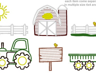 Cute Farm for boys - machine embroidery applique design BIG set- multiple sizes, for hoop 4x4,5x7, 6x10