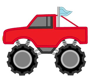 Monster Truck - machine embroidery applique designs INSTANT DOWNLOAD for hoop 4x4, 5x7, 6x10 red truck for boys machine embroidery design