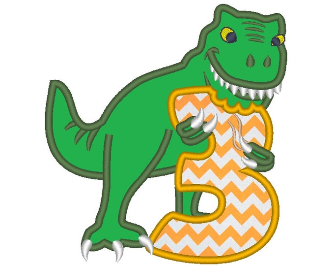 T-rex dinosaur Birthday number three 3 machine embroidery Birtday outfit designs, assorted sizes, for hoops 4x4, 5x7, 6x10  INSTANT DOWNLOAD