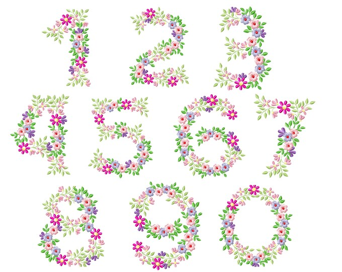 Country Floral numbers set 1-9 birthday flowers garden monogram birthday numbers floral flower Font machine embroidery design 4, 5, 6, 8 in