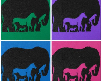 How many animals do you see? machine embroidery designs multiple sizes hoop 4x4, 5x7 elephant monkey horse dog rabbit man INSTANT DOWNLOAD
