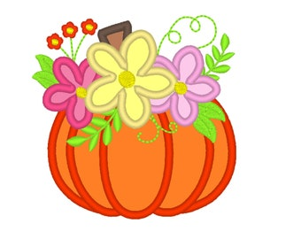 Floral Pumpkin Applique Design ~ Fall Pumpkin  Autumn pumpkin with shabby chick roses flowers crown applique machine embroidery designs