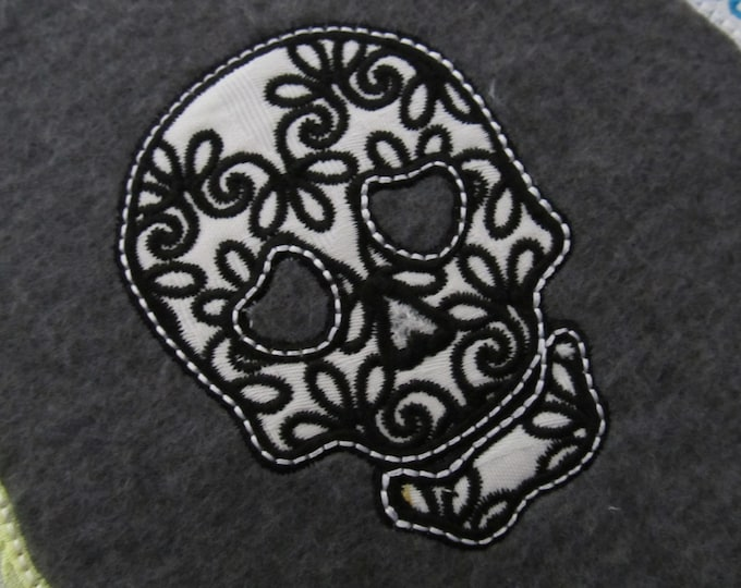 Lace curly skulls collection set of 3 types, Calavera, Halloween, machine embroidery applique designs for hoops 4x4 and 5x7 INSTANT DOWNLOAD