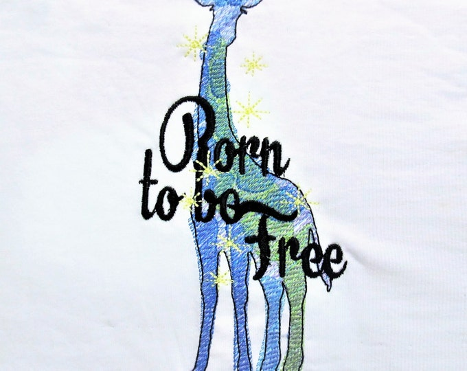 Born to be free Giraffe silhouette sketch stitch outline bean quick triple, lock stitch, simply urban embroidery design, wild and free