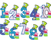 Mad Hatter Tea Party all Numbers INSTANT DOWNLOAD - machine embroidery applique designs 5x7